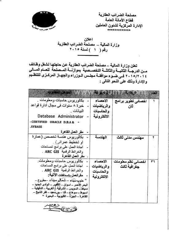 94 وظيفة خالية بمصلحة الضرائب العقارية المصرية